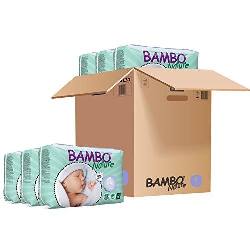 Bambo nave neonato Pannolini Taglia 1 (2-4kg, 4-9lb) - 6 x Confezioni da 28 (168 Pannolini)