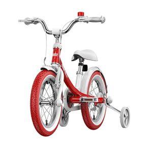 Showkig Princess14 Bicicletas Pulgadas Cochecito for niños Kids Bike del Pedal de la Bicicleta Niños Niño Niña Aluminio Bicicleta Rosada (Color : Rojo)