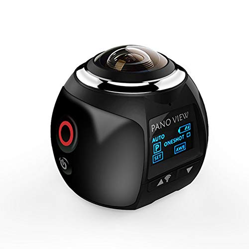 NANAD - Videocamera panoramica Wireless a 360 Gradi, 3,8 cm, 3D, WiFi, 16 MP, 4 K, HD, 30 fps, Impermeabile, Nero, Taglia Libera
