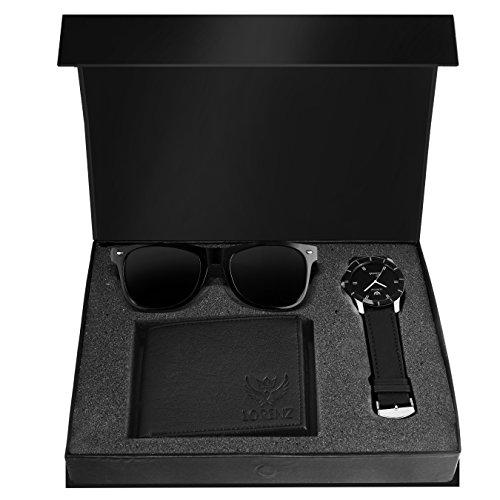LORENZ Combo Of Black Men's Wallet ,Sunglasses & Watch