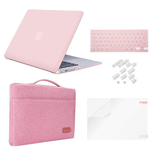 "MacBook Pro 13"" Case (2018&2017&2016) Release A1989/A1706/A1708 Bundle 5 in 1,iCasso Rubber Coated Cover,Sleeve,Screen Protector,Keyboard Cover,Dust Plug for New Mac Pro 13'',Rose Quartz"