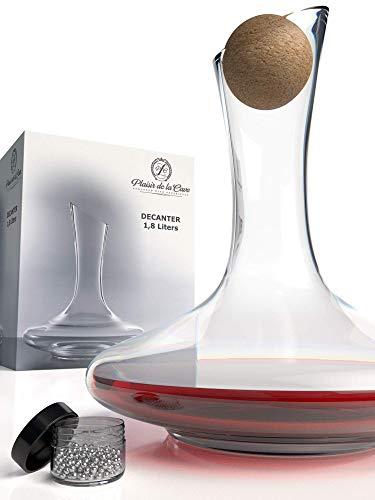 Decanter per Vino con Accessori (Tappo di Sughero + Perlina per Pulizia) - Caraffa di Cristallo 100%...