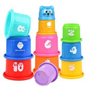 Pilego Juguetes de baño para niños – Vasos apilables flotantes juguete 10 tazas plegables arco iris educativo de playa…