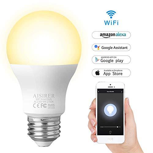 Lampadina Intelligente, AISIRER Lampadina Smart WiFi E27 Dimmerabile 2700K Equivalente 806LM Calda...