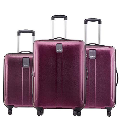 Safari Thorium Stubble Combo Set of 3 Purple Small, Medium & Large Check-in 4 Wheel Hard Suitcase