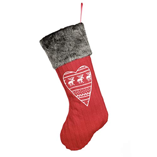 Dibor - French Style Accessories for the Home Knitted Red Christmas Stocking with Nordic Heart and Faux Fur Cuff H51cm