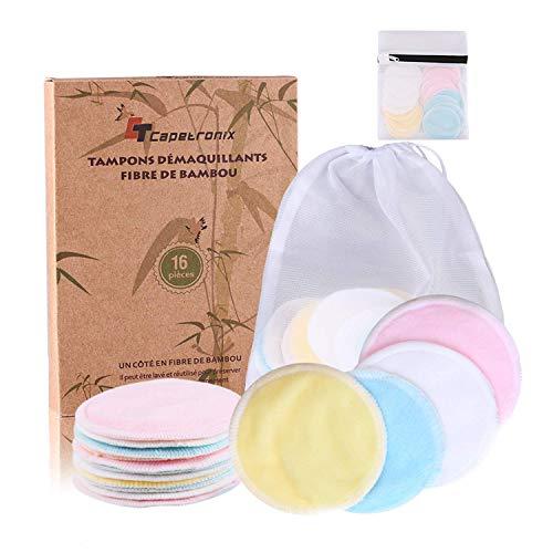 Tampons Démaquillants fibre de bambou丨disques coton demaquillant lavable丨(16pcs) + 2 Sac de...