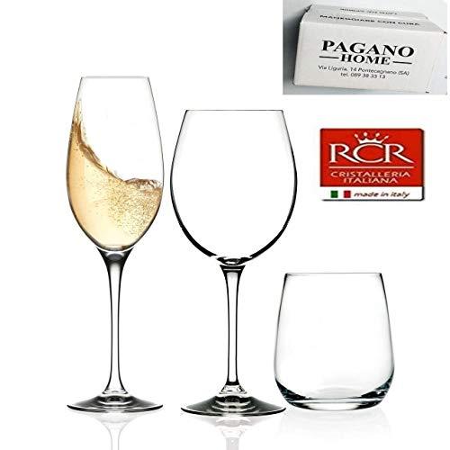 Pagano home Rcr Invino servizio bicchieri 36 pezzi per 12 persone composto da 12 bicchieri acqua, 12...