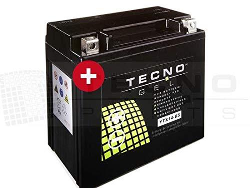 TECNO GEL Motorrad-Batterie YTX14-BS, 12V Gel-Batterie 14Ah (DIN 51214), 151x87x145 mm inkl. Pfand