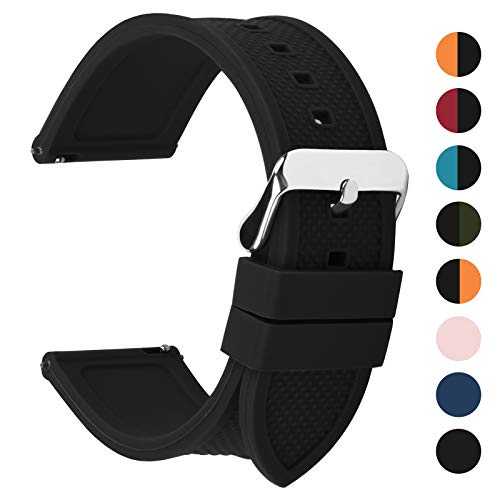 Fullmosa 10 Colori per Cinturino 18mm 20mm 22mm 24mm in Silicone a sgancio rapido, Cinturino in caucciù con Fibbia in Acciaio Inossidabile,per Uomo e Donna,20mm Nero
