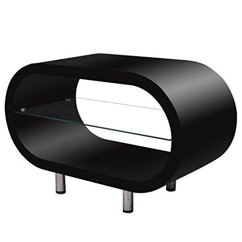 Vislone Luminoso Tavolino da caffè Nero/Supporto TV Ovale