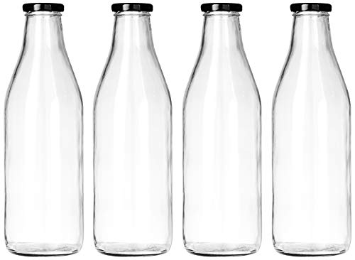 Amazon Brand - Solimo Glass Water Bottle Set (4 pieces)