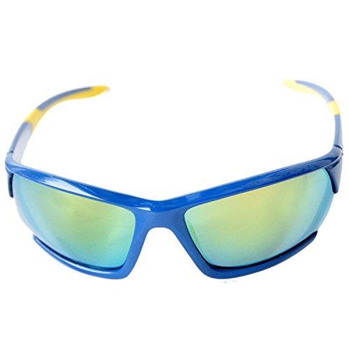 Gafas de Sol Deportivas Polarizadas con Estuche Duro para Hombre y para Mujer para Ciclismo, Carrera, Pesca, Escalada, Golf, Esquí, Alpinismo, Senderismo u otros deportes Actividad al Aire Libre (Azul/ Amarillo / Lente de Espejo)