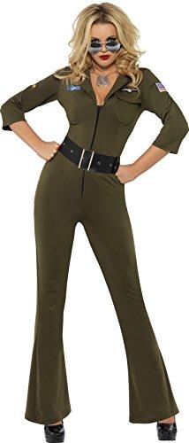 Smiffys Chica Sexy Licenciado oficialmente Aviador de Top Gun, Verde, con mono y cinturón Color, S - EU Tamaño 36-38 32811S
