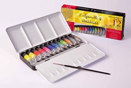 Sennelier Watercolour : Metal tin of 12 10ml tubes CLASSIC SET by Sennelier