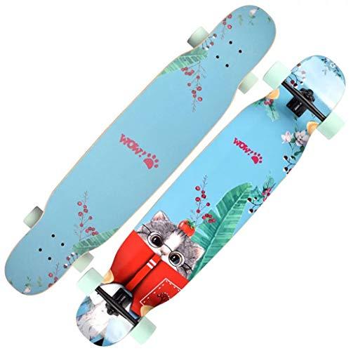 Hbpota-h Cartoon Cat Skateboard, Road Brush Street Board a Quattro Ruote con Adesivo Protector Dance...