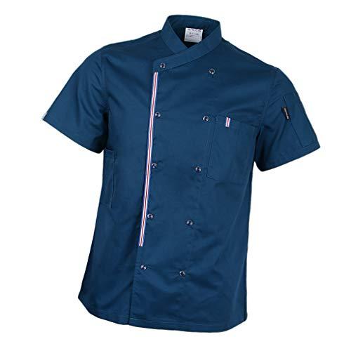 P-Prettyia-Atmunngsaktiv-Kochjakce-Bckerjacke-mit-Druckknpfe-Kochbekleidung-Arbeitskleidung-Berufsbekleidung-Arbeitsjacke-fr-Gastronomie