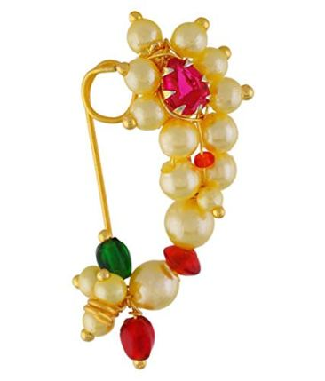VAMA FASHIONS Gold Plated Maharashtrian Nath Clip on Combo Nose Ring Without Piercing for Women 5