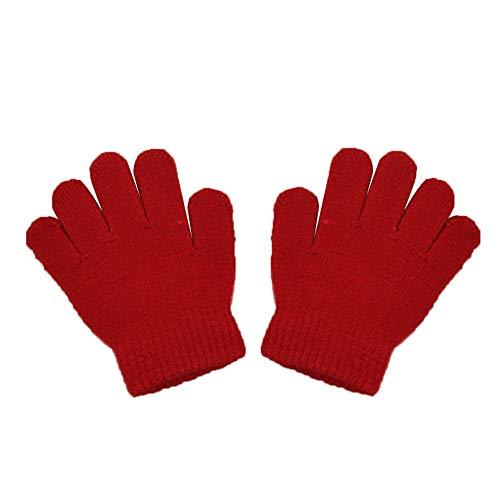 BIGBOBA - Invernali Caldo Guanti da Bambino Tinta Unita Maglia Guanti Outdoor Sport,Rosso