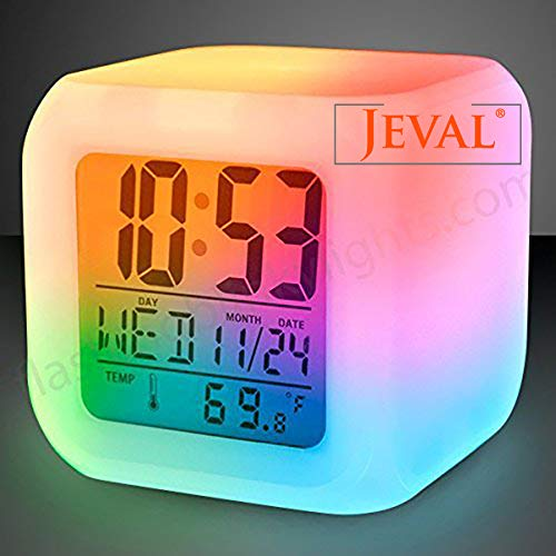 Jeval Color 7 Changing Color Clock Alarmist Clock The Ideal Gift for Children and Adults