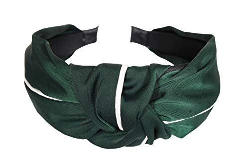 Vogue Hair Accessories Korean Style Solid Fabric Knot with Piping Plastic Hairband Headband for Girls and Woman (Green)