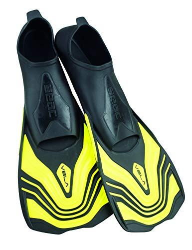 Seac Vela, Pinne Corte da Nuoto e Snorkeling Unisex Adulto, Giallo, 42-43