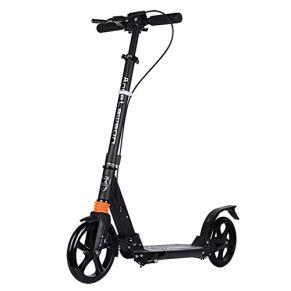 Relaxbx Scooter de Rueda Grande para Adultos Patinete de Patinaje portátil Ligero y portátil Plegable con Manillar Ajustable y Freno de Guardabarros Trasero, no eléctrico