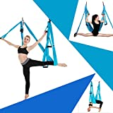 Sinbide Hamaca de Yoga, 250 * 150cm, Columpio Trapecio Set, 6 manivelas Columpio para Yoga, para Yoga Aéreo, Carga de 600 kg, Tafetán de Nailon, Antigravedad (Azul)