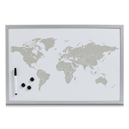 Zeller 11573magnetico/Lavagna bianca 'World, magnetica lamierini, Grigio, 60x 40x 2cm