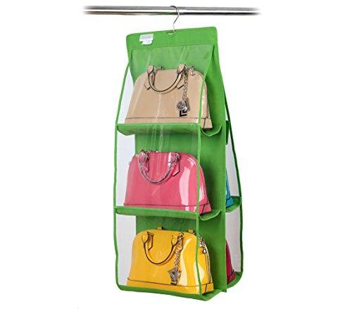 Organizzatore fino a 12 borse con gancio pratico organizer da armadio o porta. MWS (Verde)