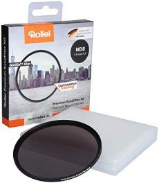 Rollei Premium Round Filter ND 8 Stopper 49 mm - Filtro de densidad neutra con anillo de aluminio de vidrio Gorilla con revestimiento especial - ND8 (3 paradas / 0,9)