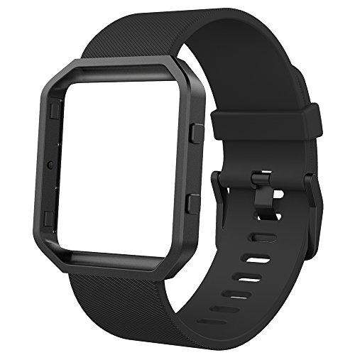 Anjoo Fitbit Blaze Cinturino con Telaio, Sostituzione Silicone Cinturino con Telaio per Fit Bit Blaze Smart Fitness Watch,Grande, Nero