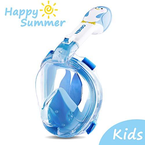 ORSEN Schnorchelmaske Vollmaske für Erwachsene & Kinder, Faltbare Tauchmaske Vollgesichtsmske mit 180° Sicht und Action Kamera-Halterung, Müheloses Atmen, Kein Beschlagen