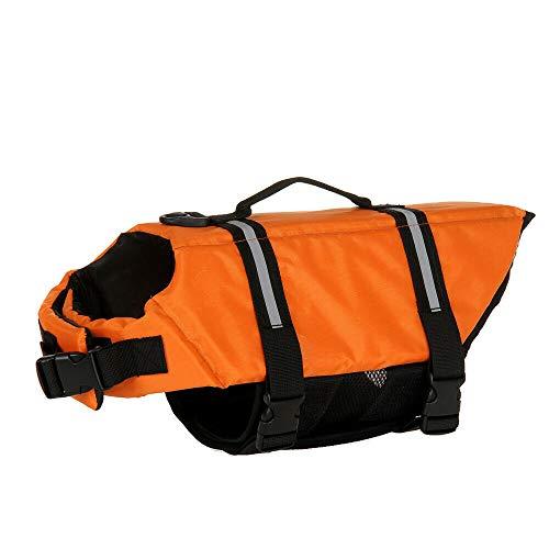Nersifog Aquatic Sailing Preserver Pet Life Jacket Dog Cat Saver Life Jacket Vest (Orange, S)