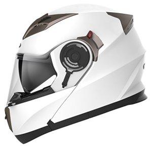 Motorradhelm Klapphelm Integralhelm Fullface Helm - Yema YM-925 Rollerhelm Sturzhelm mit Doppelvisier Sonnenblende ECE für Damen Herren Erwachsene-Weiß-XL 2