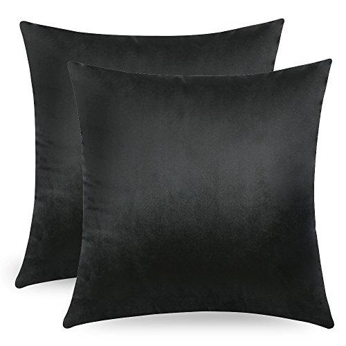 MIULEE Confezione da 2 Federe in Velluto Copricuscini Decorativi Fodere Quadrate per Cuscino per Divano Camera da Letto Casa Auto 45X45cm Nero