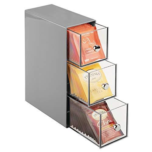 mDesign Pratico porta bustine da te a 3 cassetti - Mobiletto cucina con cassetti, per spezie, tè in...