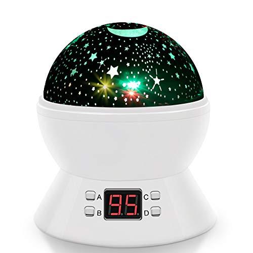 Luce notturna di proiezione, stella, luna ed universo rotante di 360°, rotonda lampada con...