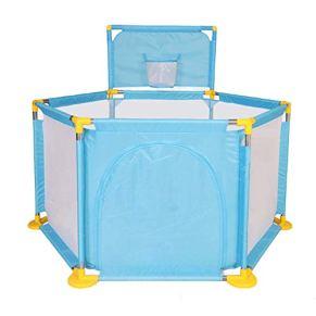 DNSJB Valla Hexagonal para Niños con Canasta De Lanzamiento, Centro De Actividades para Niños De La Piscina De Bolas Transpirables (Color : Azul)