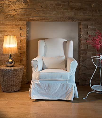 Maison Design Poltrona bergére Classica Completamente SFODERABILE in Tessuto Cotone 100% - Colore Bianco