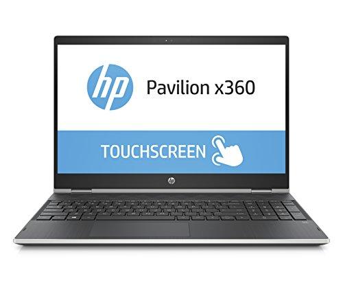 HP Pavilion x360 15-cr0004ng (15,6 Zoll / Full HD IPS Touch) Convertible Laptop (Intel Core i5-8250u, 8GB RAM, 128GB SSD, 1TB HDD, Intel UHD Grafik, Windows 10) schwarz / silber