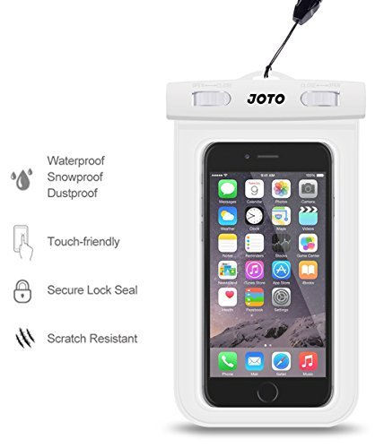 JOTO Cellphone Dry Bag Pouch Waterproof Case for Up to 6.0-inch Diagonal Phones (White)