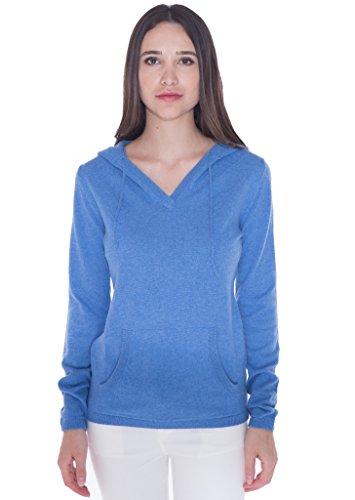 100% Kaschmir V-Ausschnitt Kordelzug Hoodie Pullover für Frauen - von CASHMERE 4 U (Small, Azure(Azurblau))