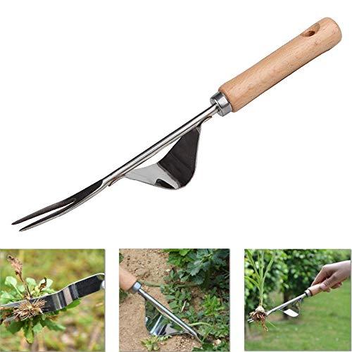 YAVO-EU Eliminar Malas Hierbas Extractor Quita Desherbador Manual Horquilla de Mango de Madera Desmalezador de Jardín De Acero Inoxidable