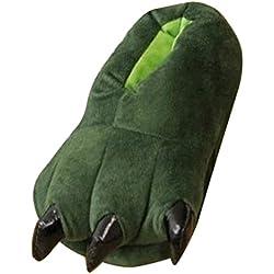 Happy Cherry - Zapatos Animal Dinosaurio de Franela Zapatillas Costume Traje de Disfraz para Mujer Adulto Unisex - Dinosaurio - Talla ES 35-40