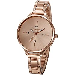 Geneva Platinum Analogue Rose Gold Dial Women's Watch (332)