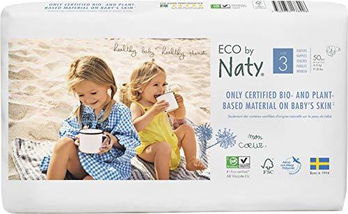 Eco by Naty, Taglia 3, 100 pannolini, 4-9kg, Pannolino ecologico premium a base vegetale con lo 0% di plastica a base di petrolio sulla pelle.