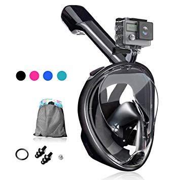 Dlife Maschera da Snorkeling, Maschera Subacquea Full Face 180 ° Visualizza Design Panoramico, Facciale Anti-Appannamento e Anti-Infiltrazioni per Bambini e Adulti (Nero, L/XL)