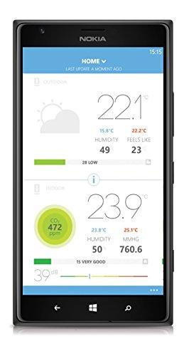 413D1Dk047L [Bon Plan Netatmo] Netatmo Station Météo Intérieur Extérieur Connectée Wifi pour Smartphone, Capteur Sans fil, Thermomètre, Hygromètre, Baromètre, Sonomètre, Qualité de l'air - Compatible avec Amazon Alexa, NWS01-EC