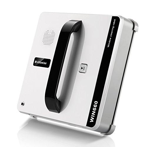 Alfawise WIN660 Robot Lave Vitres, Blanc - Commercial avec Système UPS Anti-chute et Corde de Sécurité, Compatible avec Grandes Baies Vitrées, Fenêtres, Mur, Table